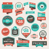 Set of vintage badges and stickers — Vecteur