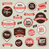 Conjunto de emblemas vintage e fitas — Vetorial Stock