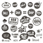 Set of hand drawn style badges and elements — Stock Vector