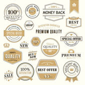 Set of golden badges and stickers for sale — Stock Vector
