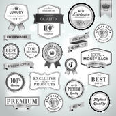 Set luxury silver labels and ribbons — Wektor stockowy