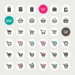 Stock Vector: Set of shopping cart, basket and bag icons