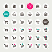 Set of shopping cart, basket and bag icons — Vecteur
