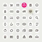 Set van winkelen pictogrammen — Stockvector