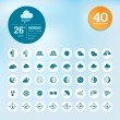 Set of weather icons and widget template — Stockvektor