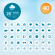 Stok Vektör: Set of weather icons and widget template