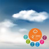 Weather widget template and sky background — Stock Vector