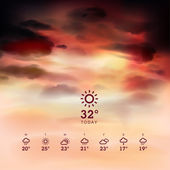 Weather widget template and sunrise theme background — Stock Vector