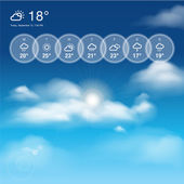 Weather widget template and blue sunny sky theme background — Stock Vector