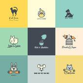 Ensemble d'icônes animaux colorés — Vecteur