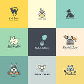 Set of colorful animal icons — Vector de stock