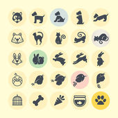 Conjunto de iconos de animales — Vector de stock