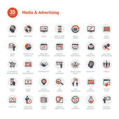 Media en reclame pictogrammen — Stockvector