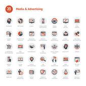 Media e pubblicità icone — Vettoriale Stock