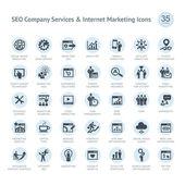 Seo şirket hizmet ve internet pazarlama simgeler kümesi — Stok Vektör