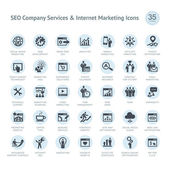 Ensemble de service de compagnie seo et icônes de marketing sur internet — Vecteur
