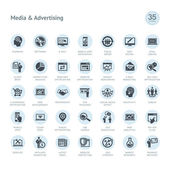 Set of media and advertising icons — Stock Vector