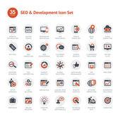Sada ikon seo a rozvoj — Stock vektor