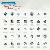 Mídia e publicidade conjunto de ícones — Vetorial Stock