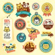 Set of animal labels and stickers — Imagen vectorial