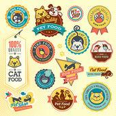 组的动物标签和贴纸 — 图库矢量图片