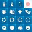 Stock Vector: Set of icons for milk. Abstract shapes and elements.
