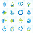 Stock Vector: Set of icons for water and nature