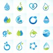 Set of icons for water and nature — Stock Vector