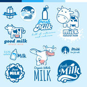 Set of labels and icons for milk — Stock Vector