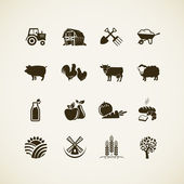 Set of farm icons - farm animals, food and drink production, organic product, machinery and tools on the farm. — Stok Vektör