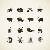 Set van boerderij pictogrammen - landbouwhuisdieren, eten en drinken productie, biologische producten, machines en gereedschappen op de boerderij. — Stockvector