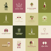 Set of icons for wine, wineries, restaurants and wine shops — Stock Vector
