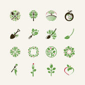 Set of organic food icons for the restaurants, food production, organic products — Stock Vector