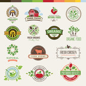Set of badges and stickers for organic products — Stok Vektör