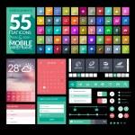 Set of flat design icons, elements, widgets — Stock Vector