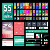 Set of flat design icons, elements, widgets — Stockvector