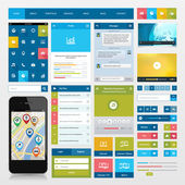 Flat icons and ui web elements for mobile app and website design — Vettoriale Stock