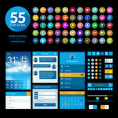 Set of flat design ui elements and icons — Stock Vector
