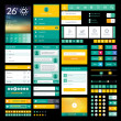 Stockvektor : Set of flat icons and elements for mobile app and web design