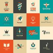 Set van pictogrammen en stickers voor kunst en onderwijs — Stockvector