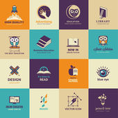 Set of art and education icons — Vector de stock