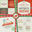 Set of greeting cards, labels, stickers, banners and badges for Christmas and New Year — Stockvektor