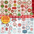 Set of labels, banners, stickers, badges and elements for Christmas and New Year — Stok Vektör #33263339