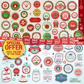 набор этикеток, баннеры, наклейки, значки и элементы на рождество и новый год — Cтоковый вектор