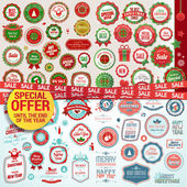 Set of labels, banners, stickers, badges and elements for Christmas and New Year — Vettoriale Stock