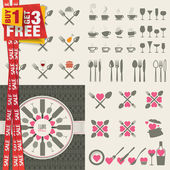 Set of icons and elements for restaurants, food and drink — Stockvektor