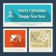 Set of Christmas and New Year greeting cards — Stock Vector