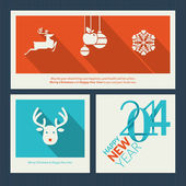 Set of Christmas and New Year greeting card templates — Stock Vector