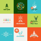 Set of elements for Christmas and New Year greeting cards — Vetor de Stock