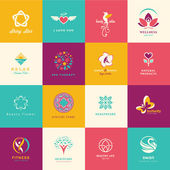 Set of flat icons for beauty, healthcare, wellness and fashion — Stok Vektör